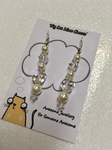 Clear Bicone Crystal Glass and Faux Pearl Dangle Earrings
