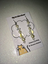 Load image into Gallery viewer, Clear Bicone Crystal Glass and Faux Pearl Dangle Earrings