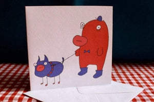 'Dog Walk' Greeting Card