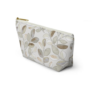 Cherry Plum Leaves Accessory Pouch w T-bottom in Brown