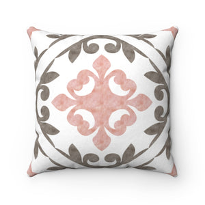 Porto Tile Square Throw Pillow in Pink