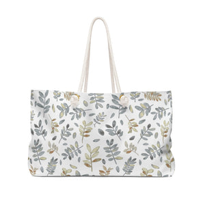 Watercolor Tossed Leaves Weekender Bag in Gray