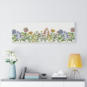 Illustrated Flowers Wrapped Canvas in Orange