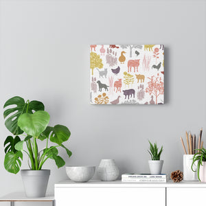 On the Farm Wrapped Canvas in Pink
