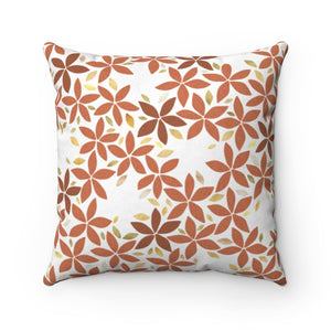 Snowbell Square Throw Pillow in Coral