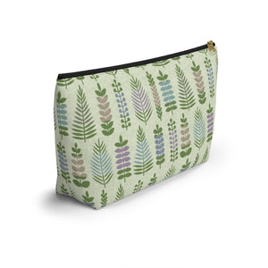 Stamped Leaves Accessory Pouch w T-bottom in Green