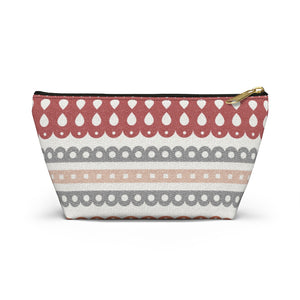 Ribbon Candy Accessory Pouch w T-bottom in Red