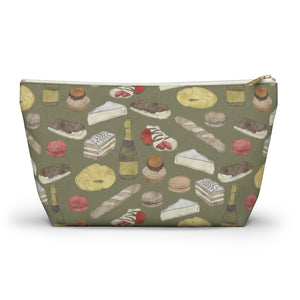 Watercolor French Pastries Accessory Pouch w T-bottom in Green