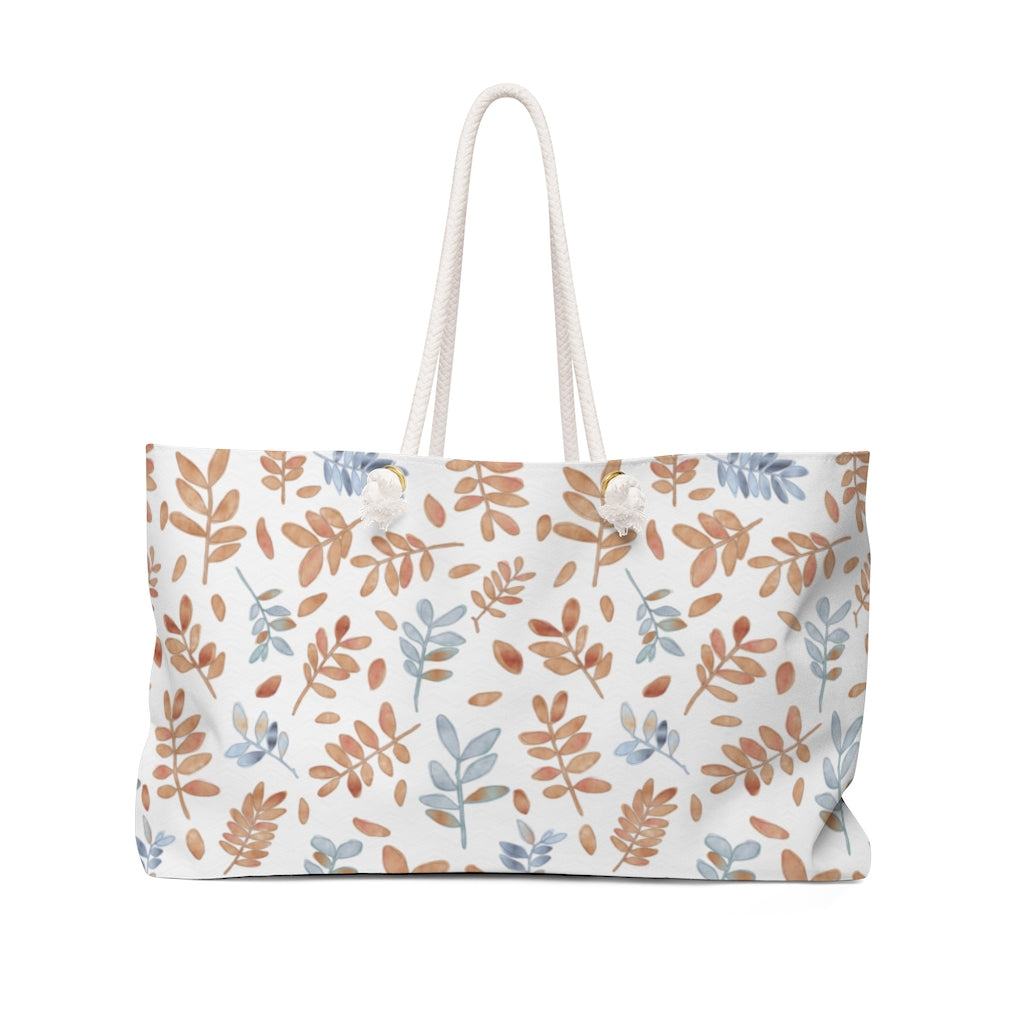 Watercolor Tossed Leaves Weekender Bag in Orange