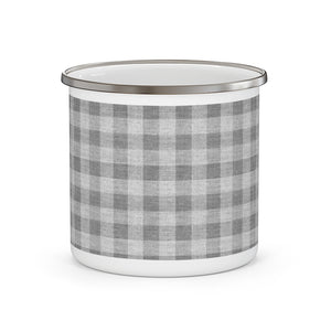 Buffalo Check Enamel Mug in Gray