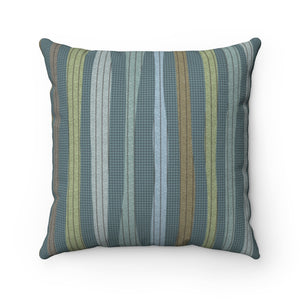 Amazing Stripe Square Throw Pillow in Teal