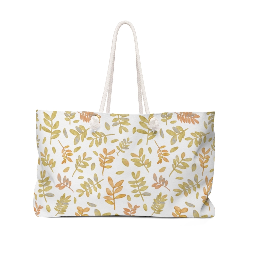 Watercolor Tossed Leaves Weekender Bag in Yellow