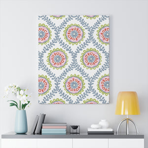 Ogee Flower Wrapped Canvas in Blue
