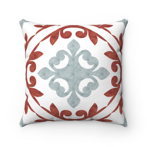 Porto Tile Square Throw Pillow in Red