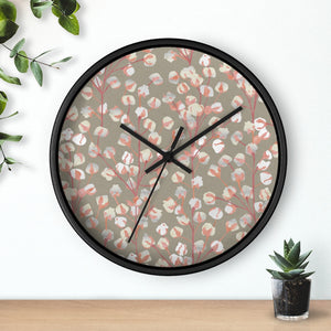 Cotton Branch Wall Clock in Pink