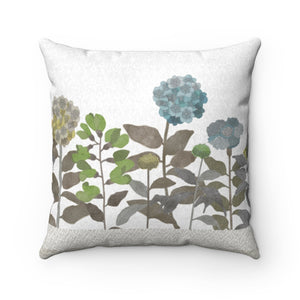 Illustrated Flowers Square Throw Pillow in Brown
