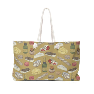 Watercolor French Pastries Weekender Bag in Gold