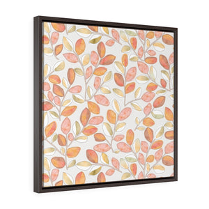 Cherry Plum Leaves Framed Gallery Wrap Canvas in Coral