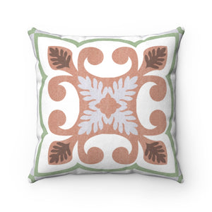 Azulejo Square Throw Pillow in Pink