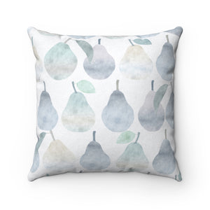 Watercolor Pears Square Throw Pillow in Light Blue