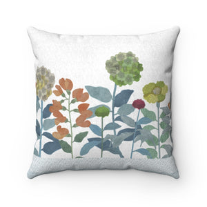 Illustrated Flowers Square Throw Pillow in Aqua