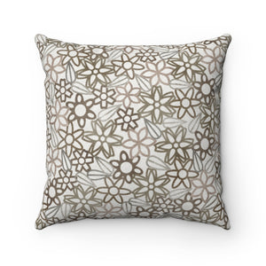 Floral Lace with Leaves Square Throw Pillow in Brown