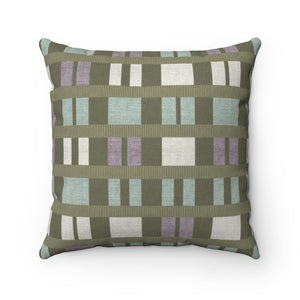 Clerestory Mid Century Modern Square Throw Pillow in Green