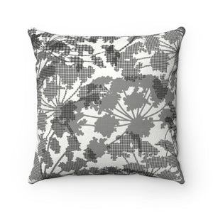 Floral Plaid Square Throw Pillow in Black