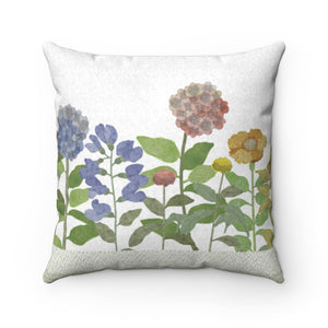 Illustrated Flowers Square Throw Pillow in Green