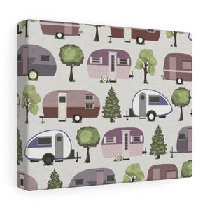 Teardrop Camper Wrapped Canvas in Purple