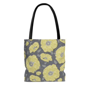 Floral Poppies Tote Bag in Yellow