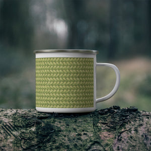 Basket Weave Enamel Mug in Lime