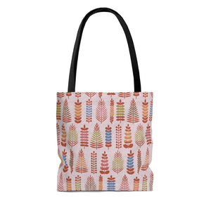 Stamped Leaves Tote Bag in Red