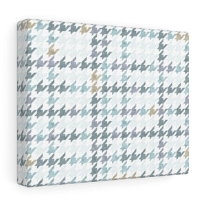 Plaid Houndstooth Wrapped Canvas in Aqua