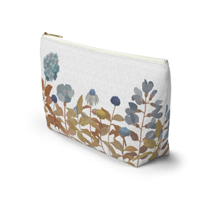 Illustrated Flowers Accessory Pouch w T-bottom in Orange