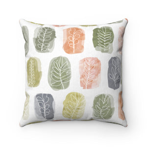 Watercolor Leaf Stamp Square Throw Pillow in Green
