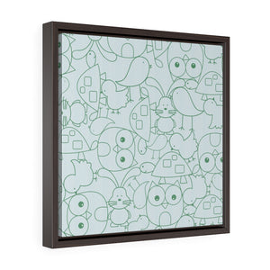 Cute Critters Framed Gallery Wrap Canvas in Blue