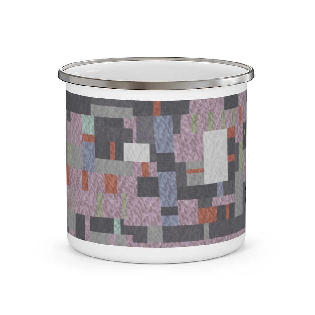 Block Quilt Enamel Mug in Purple