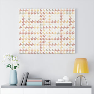 Plaid Houndstooth Wrapped Canvas in Pink