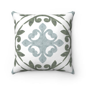Porto Tile Square Throw Pillow in Green