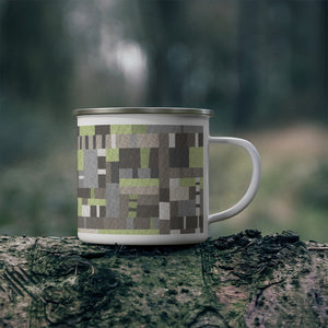 Block Quilt Enamel Mug in Green