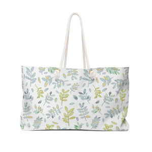 Watercolor Tossed Leaves Weekender Bag in Aqua