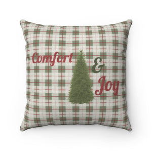 Comfort and Joy Square Throw Pillow in Green
