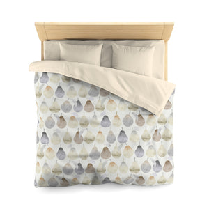 Watercolor Pears Microfiber Duvet Cover in Cream