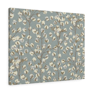 Cotton Branch Wrapped Canvas in Aqua