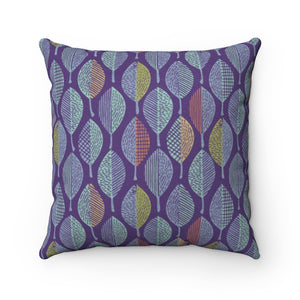 Wood Cut Leaves Square Throw Pillow in Purple