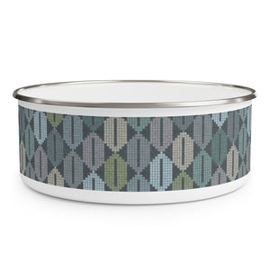 Plaid Diamond Enamel Bowl in Teal