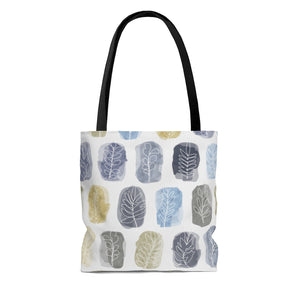 Watercolor Leaf Stamp Tote Bag in Navy