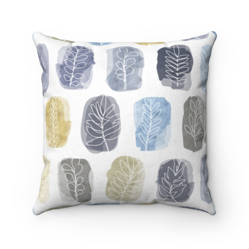 Watercolor Leaf Stamp Square Throw Pillow in Navy
