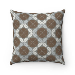 Leaf Ensconced Circle Square Throw Pillow in Brown